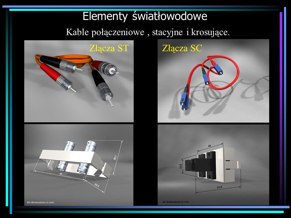 Elementy światłowodowe Kable połączeniowe, stacyjne i krosujące. Złącza SCZłącza ST