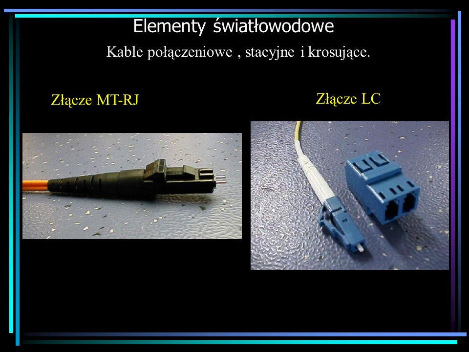 Elementy światłowodowe Kable połączeniowe, stacyjne i krosujące. Złącze LC Złącze MT-RJ