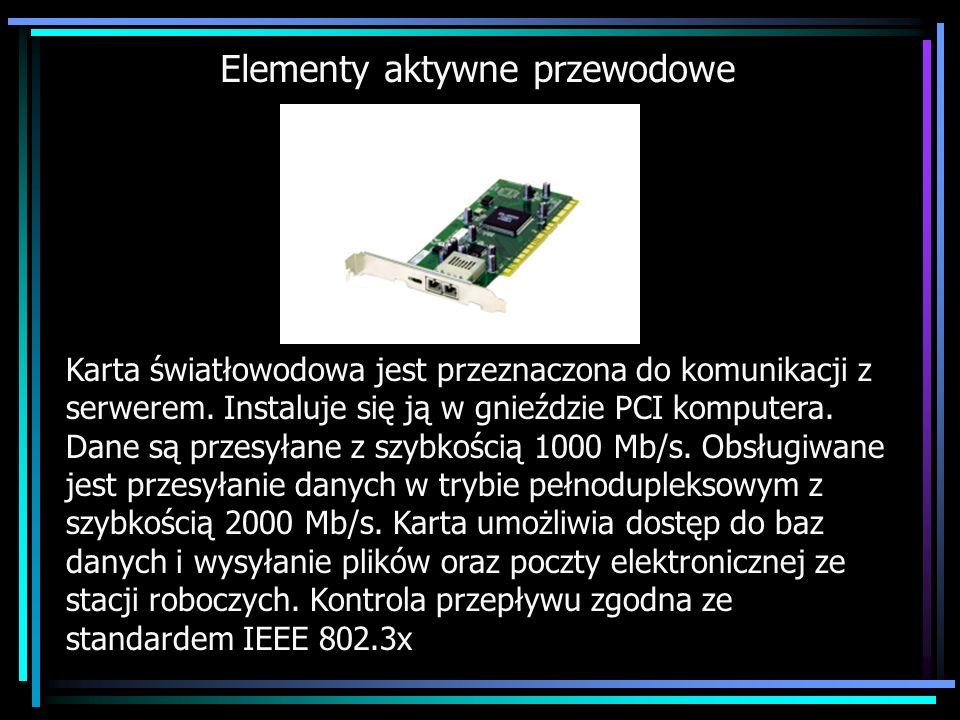 Elementy aktywne przewodowe Karta światłowodowa jest przeznaczona do komunikacji z serwerem. Instaluje się ją w gnieździe PCI komputera. Dane są przes