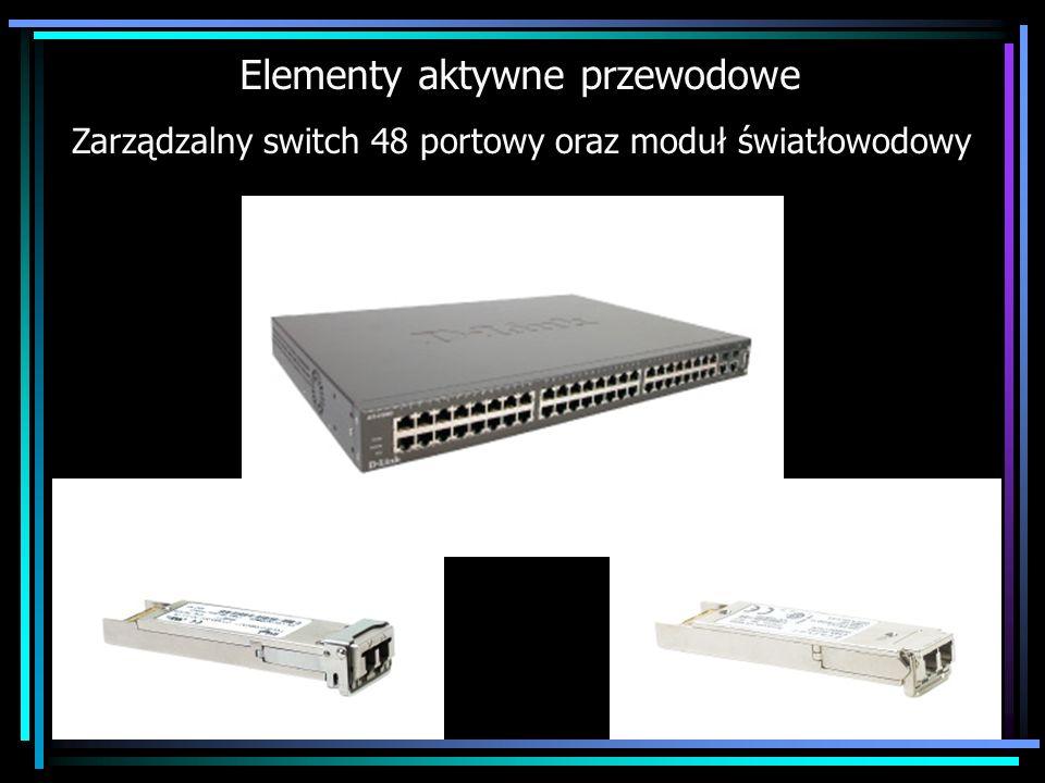 Elementy aktywne przewodowe Zarządzalny switch 48 portowy oraz moduł światłowodowy