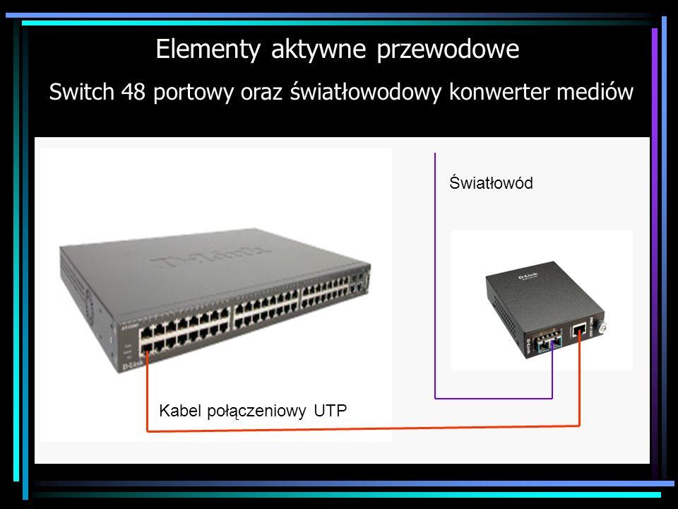 Elementy aktywne przewodowe Switch 48 portowy oraz światłowodowy konwerter mediów Światłowód Kabel połączeniowy UTP