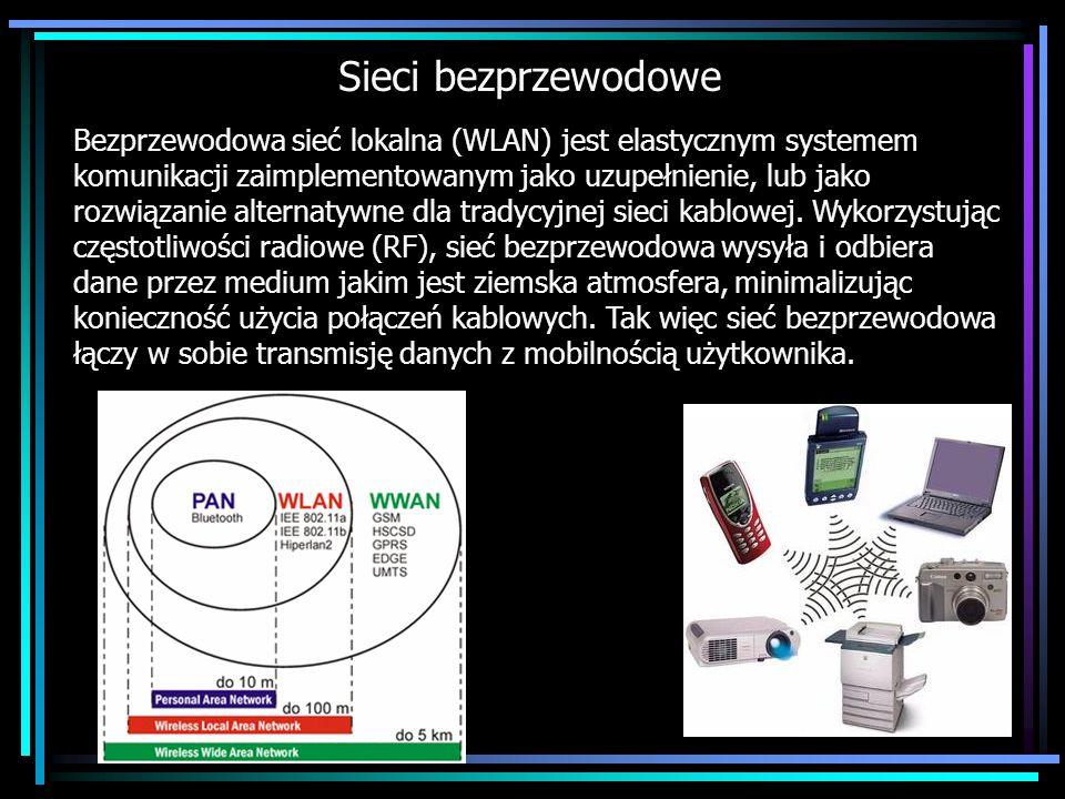 Sieci bezprzewodowe Bezprzewodowa sieć lokalna (WLAN) jest elastycznym systemem komunikacji zaimplementowanym jako uzupełnienie, lub jako rozwiązanie