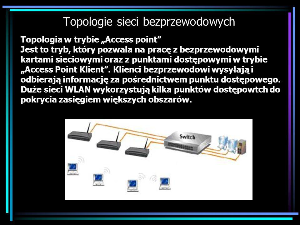Topologie sieci bezprzewodowych Topologia w trybie Access point Jest to tryb, który pozwala na pracę z bezprzewodowymi kartami sieciowymi oraz z punkt