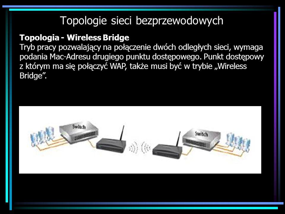 Topologie sieci bezprzewodowych Topologia - Wireless Bridge Tryb pracy pozwalający na połączenie dwóch odległych sieci, wymaga podania Mac-Adresu drug