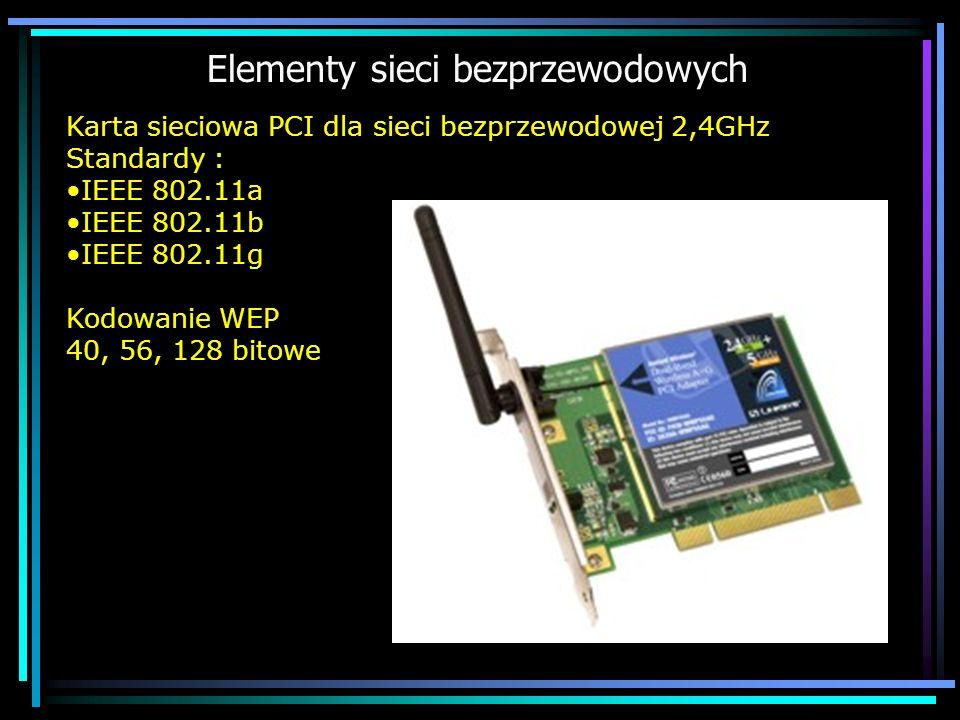 Elementy sieci bezprzewodowych Karta sieciowa PCI dla sieci bezprzewodowej 2,4GHz Standardy : IEEE 802.11a IEEE 802.11b IEEE 802.11g Kodowanie WEP 40,