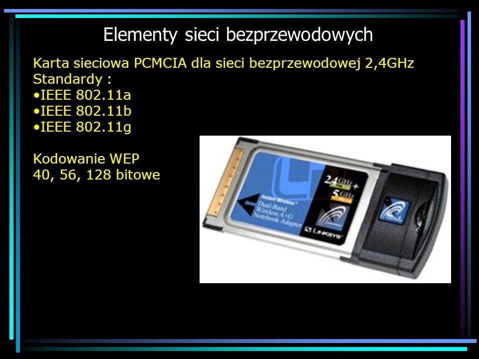 Elementy sieci bezprzewodowych Karta sieciowa PCMCIA dla sieci bezprzewodowej 2,4GHz Standardy : IEEE 802.11a IEEE 802.11b IEEE 802.11g Kodowanie WEP