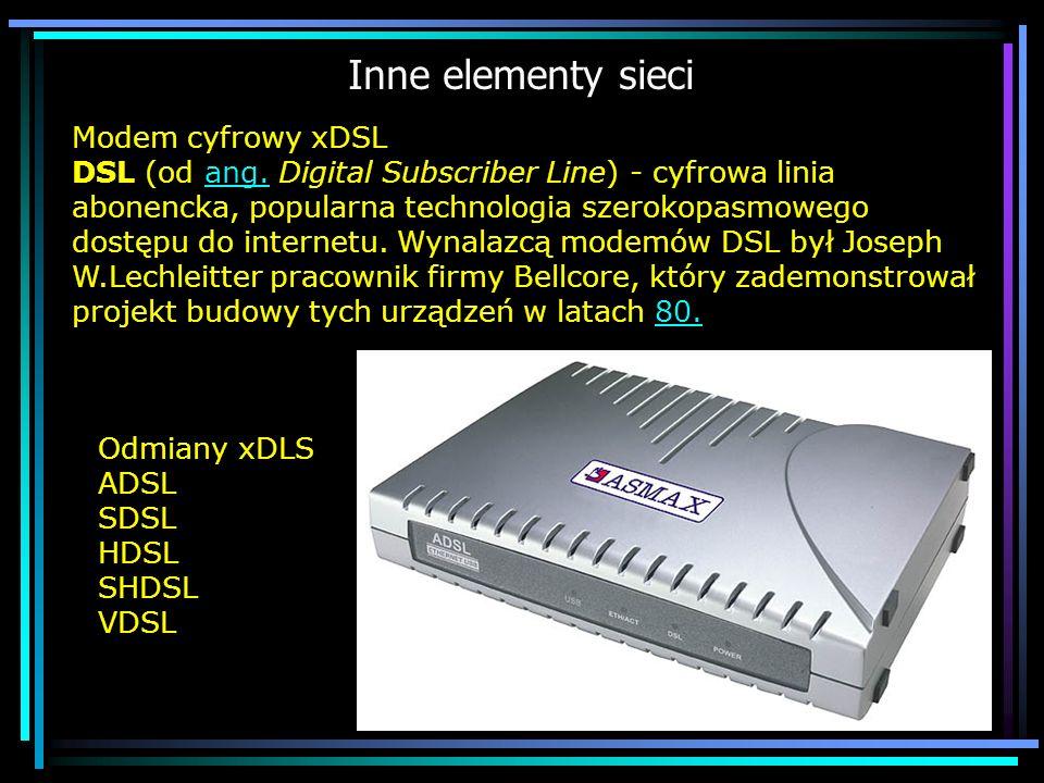 Inne elementy sieci Odmiany xDLS ADSL SDSL HDSL SHDSL VDSL Modem cyfrowy xDSL DSL (od ang. Digital Subscriber Line) - cyfrowa linia abonencka, popular