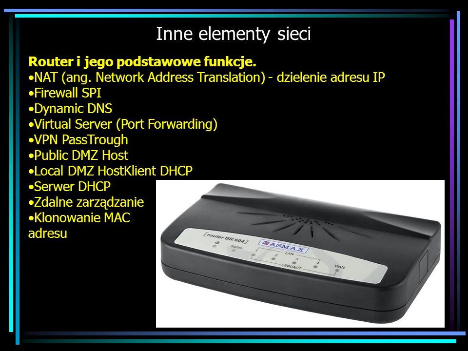 Inne elementy sieci Router i jego podstawowe funkcje. NAT (ang. Network Address Translation) - dzielenie adresu IP Firewall SPI Dynamic DNS Virtual Se
