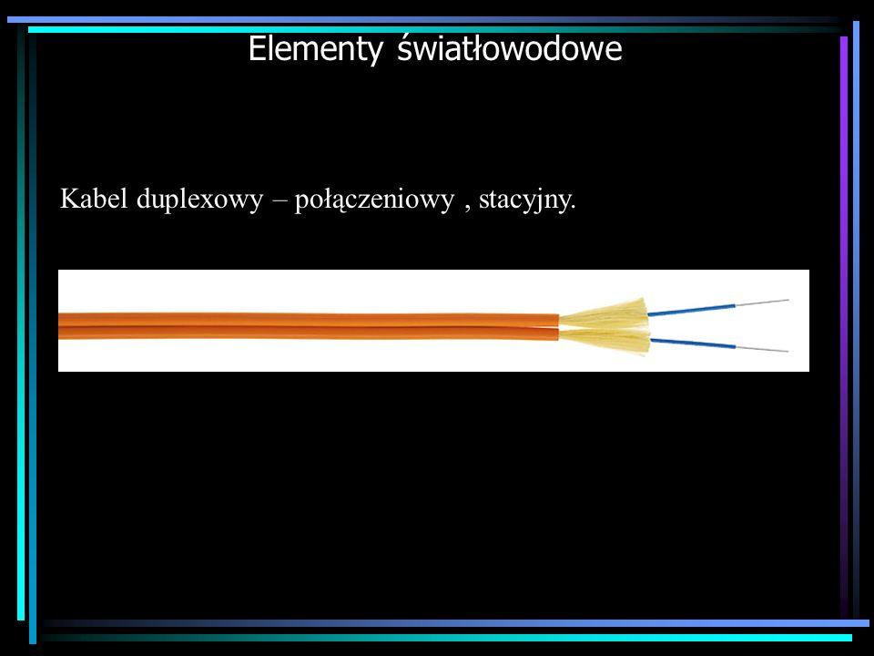 Elementy światłowodowe Kabel duplexowy – połączeniowy, stacyjny.