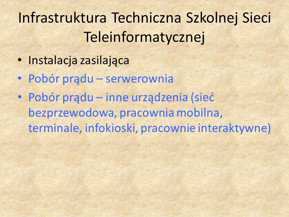 Infrastruktura Techniczna Szkolnej Sieci Teleinformatycznej Instalacja zasilająca Pobór prądu – serwerownia Pobór prądu – inne urządzenia (sieć bezprz