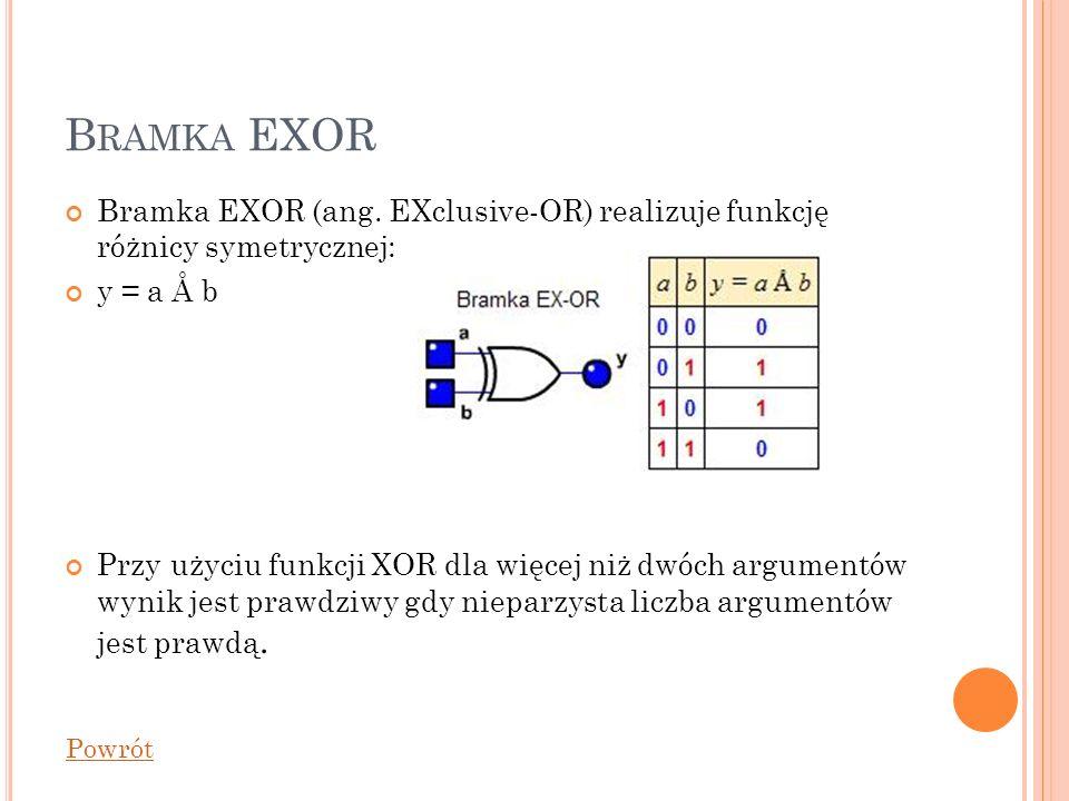 B RAMKA EXOR Bramka EXOR (ang. EXclusive-OR) realizuje funkcję różnicy symetrycznej: y = a Å b Przy użyciu funkcji XOR dla więcej niż dwóch argumentów