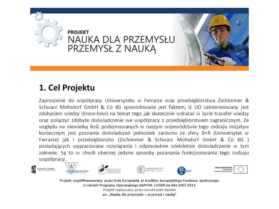 Projekt współfinansowany przez Unię Europejską ze środków Europejskiego Funduszu Społecznego w ramach Programu Operacyjnego KAPITAŁ LUDZKI na lata 2007-2013 Projekt realizowany przez Uniwersytet Opolski pn.