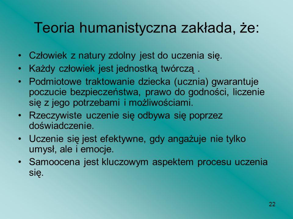 22 Teoria humanistyczna zakłada, że: Człowiek z natury zdolny jest do uczenia się. Każdy człowiek jest jednostką twórczą. Podmiotowe traktowanie dziec