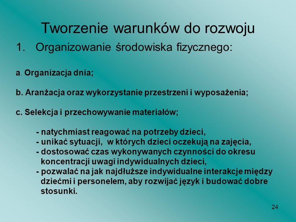 24 Tworzenie warunków do rozwoju 1.Organizowanie środowiska fizycznego: a. Organizacja dnia; b. Aranżacja oraz wykorzystanie przestrzeni i wyposażenia