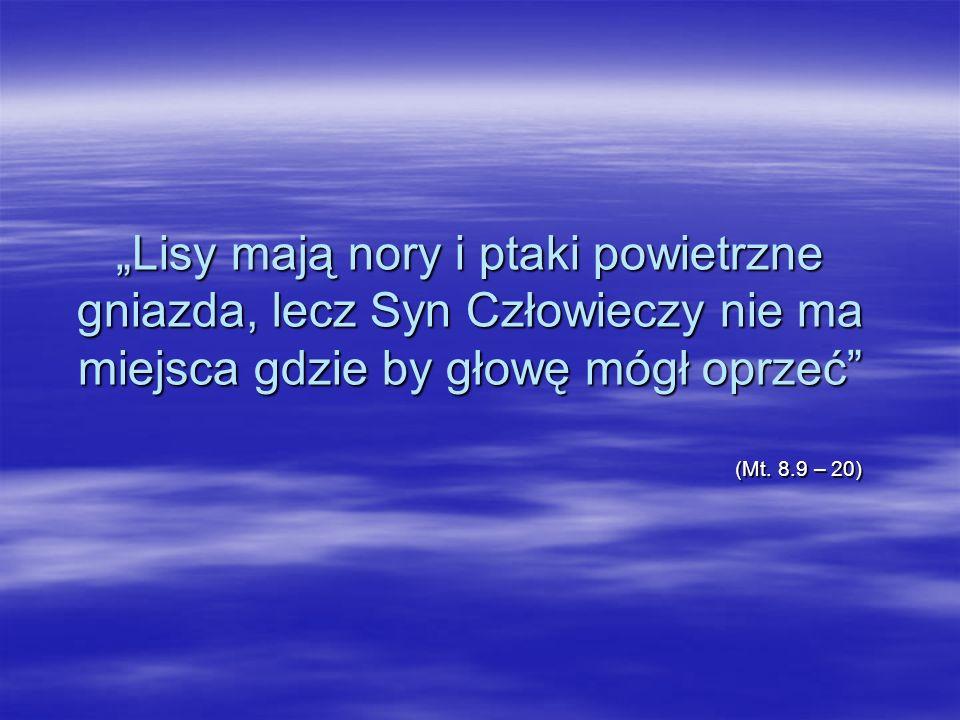 Lisy mają nory i ptaki powietrzne gniazda, lecz Syn Człowieczy nie ma miejsca gdzie by głowę mógł oprzeć (Mt. 8.9 – 20) (Mt. 8.9 – 20)