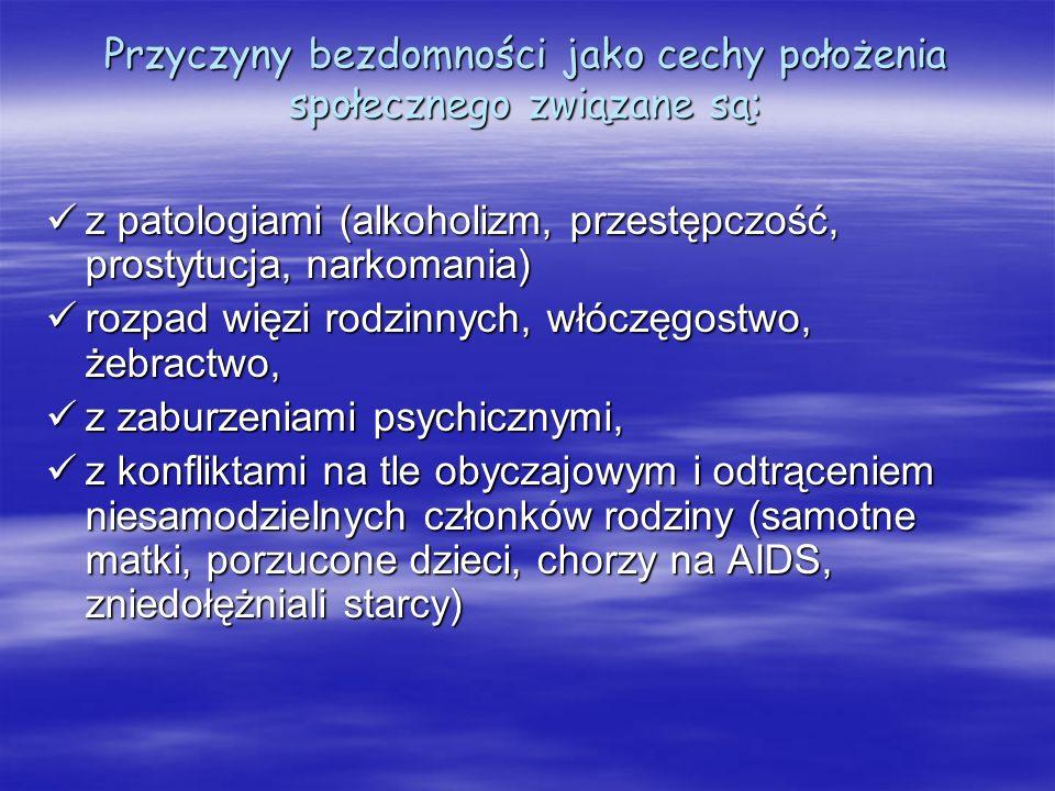 Przyczyny bezdomności jako cechy położenia społecznego związane są: z patologiami (alkoholizm, przestępczość, prostytucja, narkomania) z patologiami (