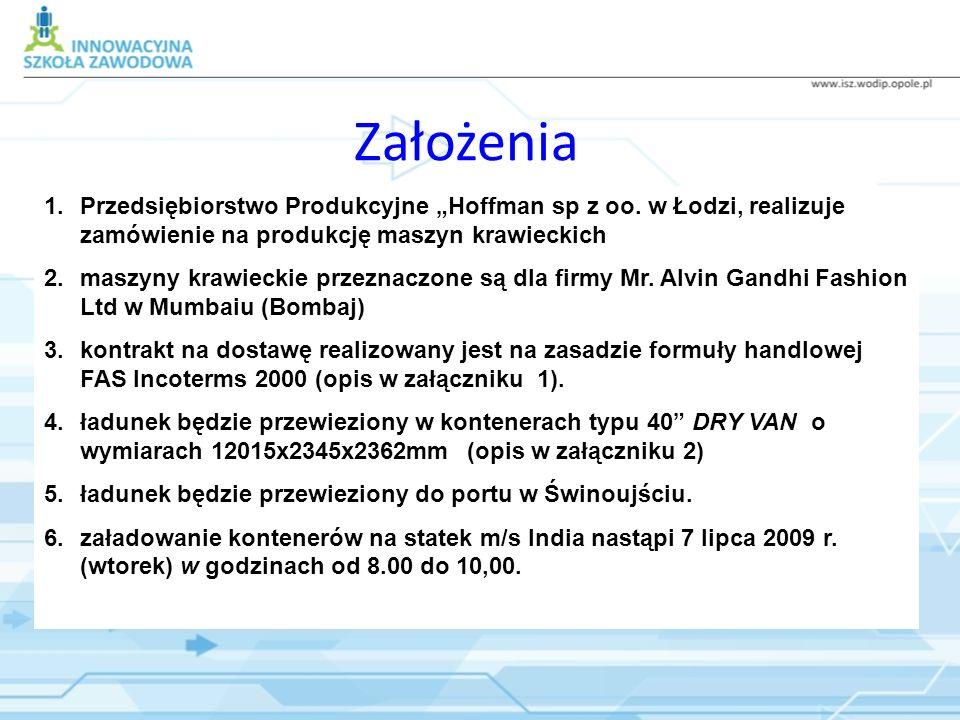 Założenia 1.Przedsiębiorstwo Produkcyjne Hoffman sp z oo. w Łodzi, realizuje zamówienie na produkcję maszyn krawieckich 2.maszyny krawieckie przeznacz