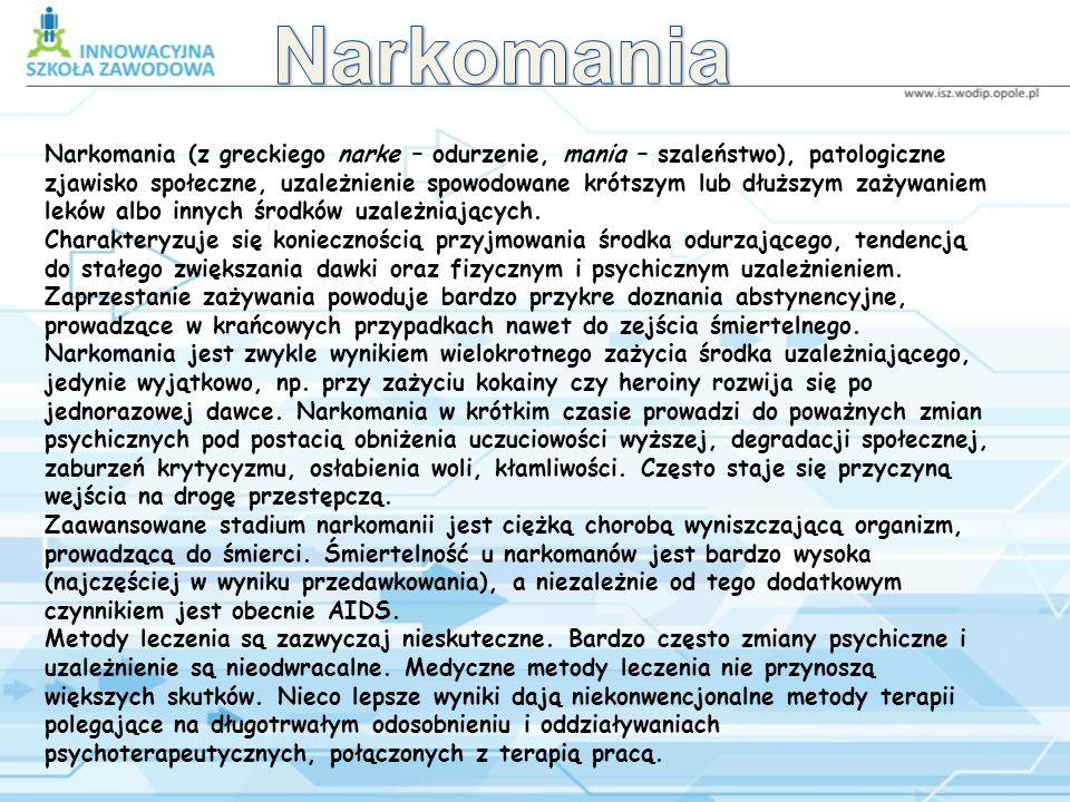 Spis treści Narkomania Rodzaje narkotyków Mak Konopie Liście Coci Syntetyki Halucynogenny Barbiturany Środki wziewne Alkohol Nikotyna Co dziecko myśli o używkach Co rodzic myśli o narkotykach Co lekarz myśli o narkotykach Co policjant mówi o narkotykach Narkomani