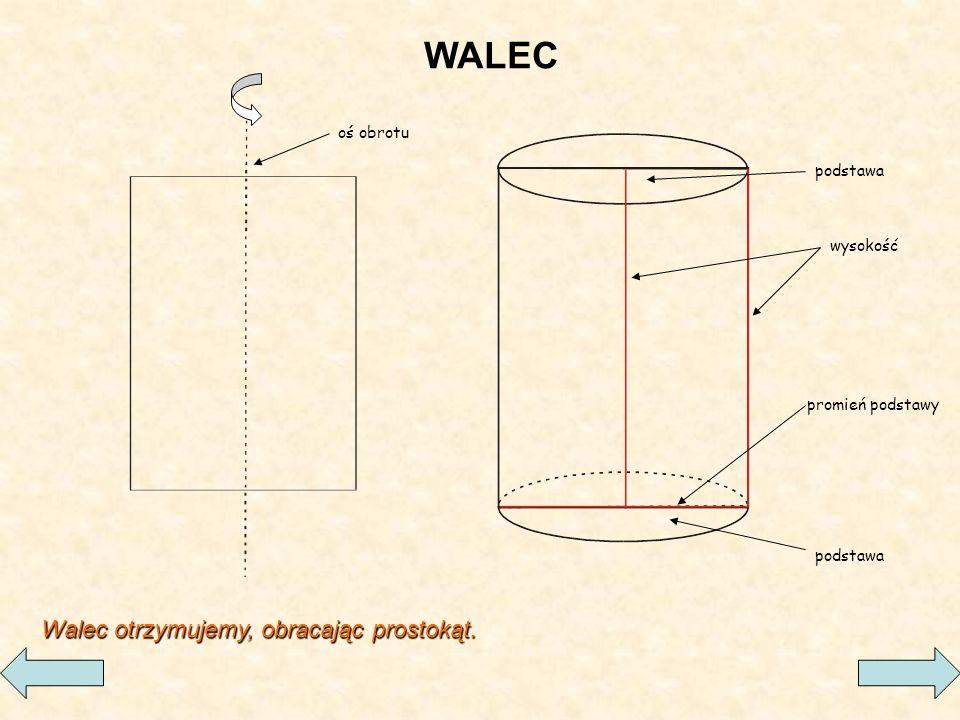 podstawa wysokość promień podstawy oś obrotu WALEC Walec otrzymujemy, obracając prostokąt.