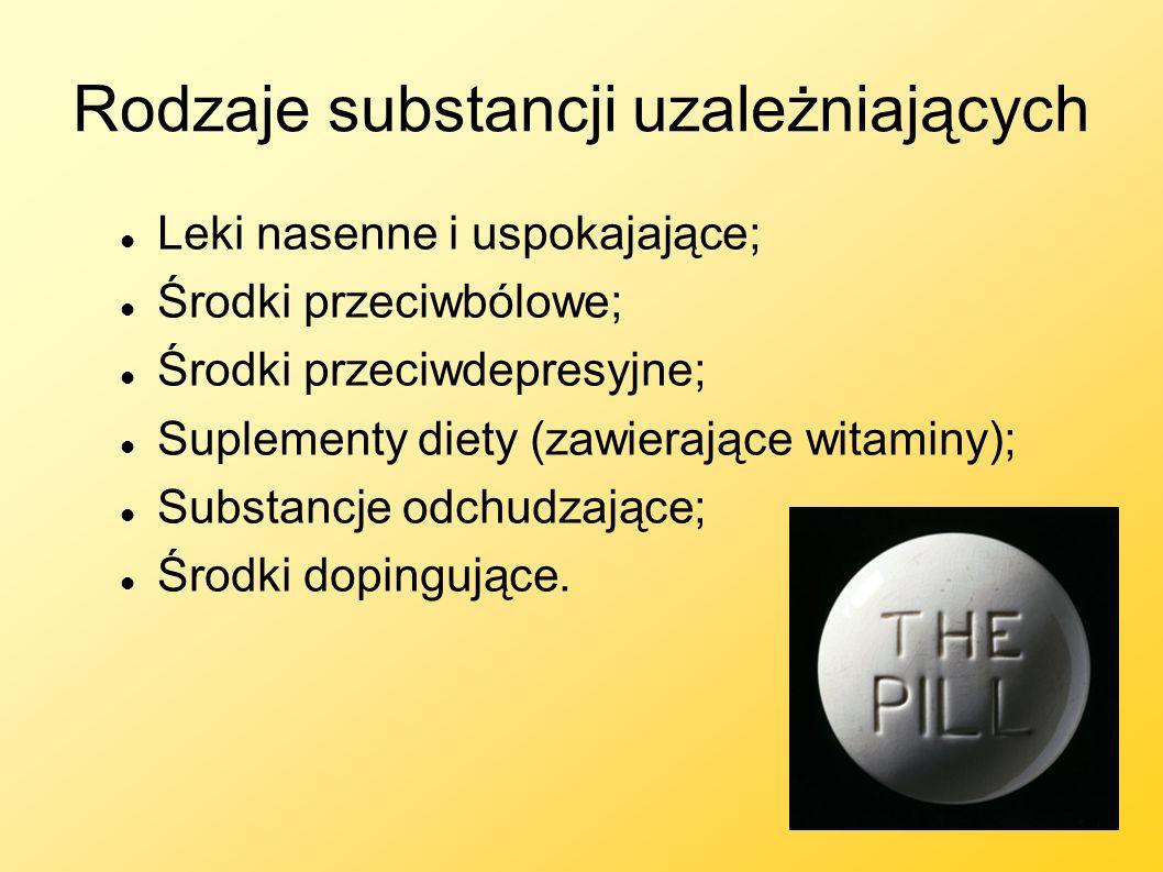 Rodzaje substancji uzależniających Leki nasenne i uspokajające; Środki przeciwbólowe; Środki przeciwdepresyjne; Suplementy diety (zawierające witaminy