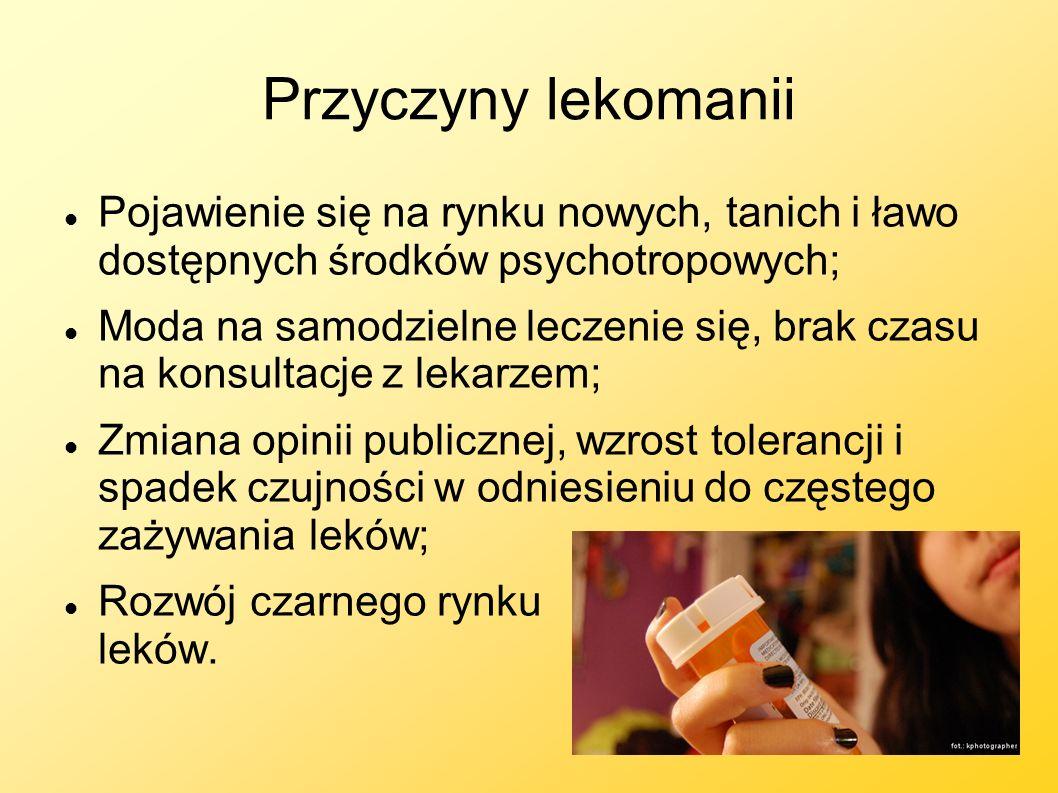 Przyczyny lekomanii Pojawienie się na rynku nowych, tanich i ławo dostępnych środków psychotropowych; Moda na samodzielne leczenie się, brak czasu na