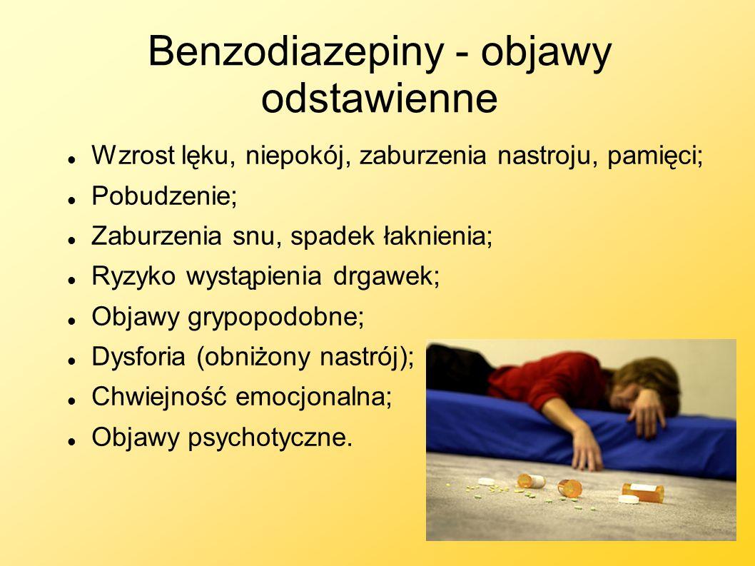 Benzodiazepiny - objawy odstawienne Wzrost lęku, niepokój, zaburzenia nastroju, pamięci; Pobudzenie; Zaburzenia snu, spadek łaknienia; Ryzyko wystąpie