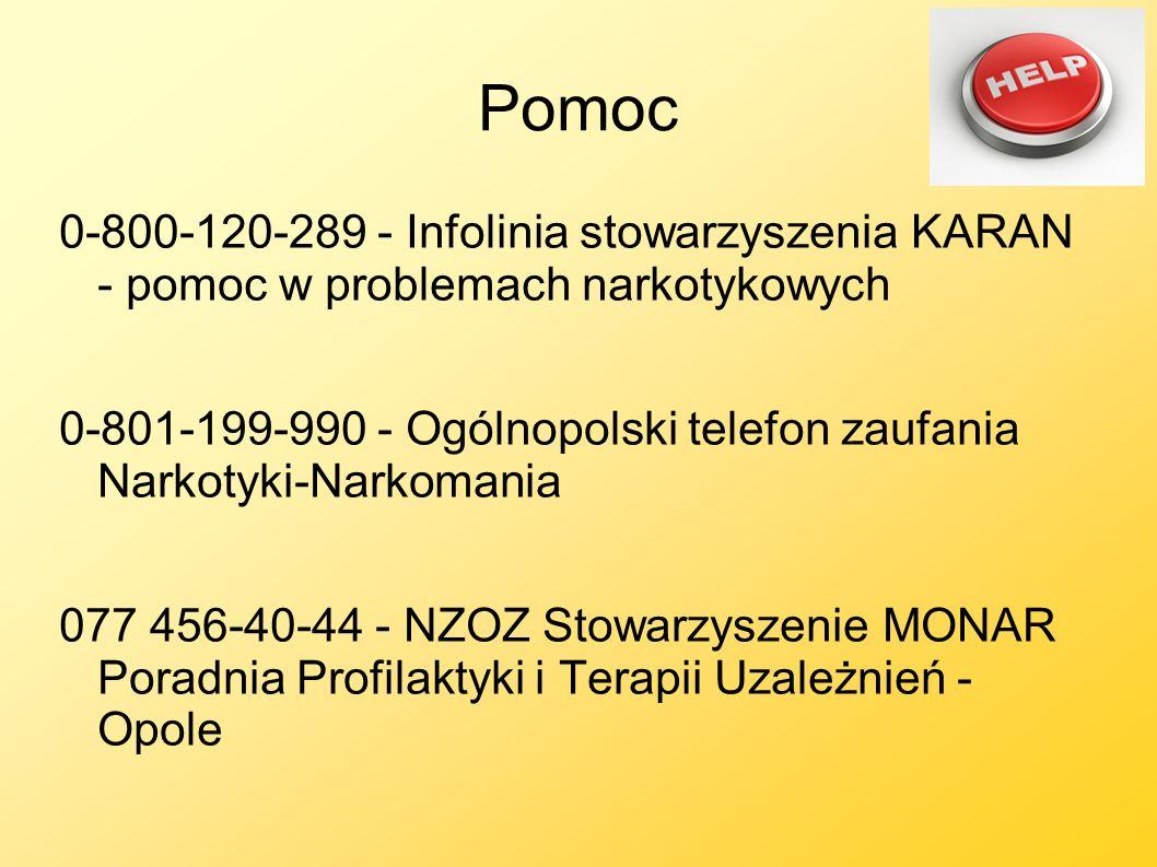 Pomoc 0-800-120-289 - Infolinia stowarzyszenia KARAN - pomoc w problemach narkotykowych 0-801-199-990 - Ogólnopolski telefon zaufania Narkotyki-Narkom