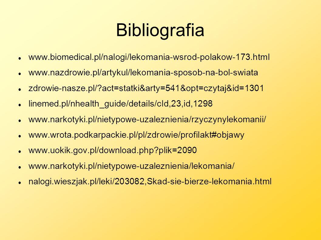 Bibliografia www.biomedical.pl/nalogi/lekomania-wsrod-polakow-173.html www.nazdrowie.pl/artykul/lekomania-sposob-na-bol-swiata zdrowie-nasze.pl/?act=s