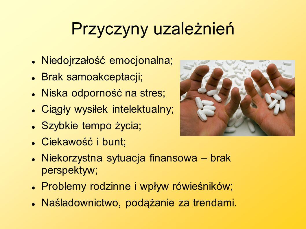 Przyczyny uzależnień Niedojrzałość emocjonalna; Brak samoakceptacji; Niska odporność na stres; Ciągły wysiłek intelektualny; Szybkie tempo życia; Ciek