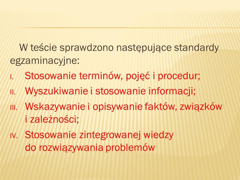 W teście sprawdzono następujące standardy egzaminacyjne: I.