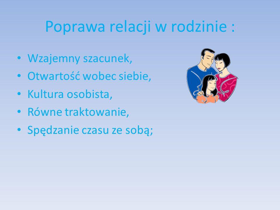 Poprawa relacji w rodzinie : Wzajemny szacunek, Otwartość wobec siebie, Kultura osobista, Równe traktowanie, Spędzanie czasu ze sobą;