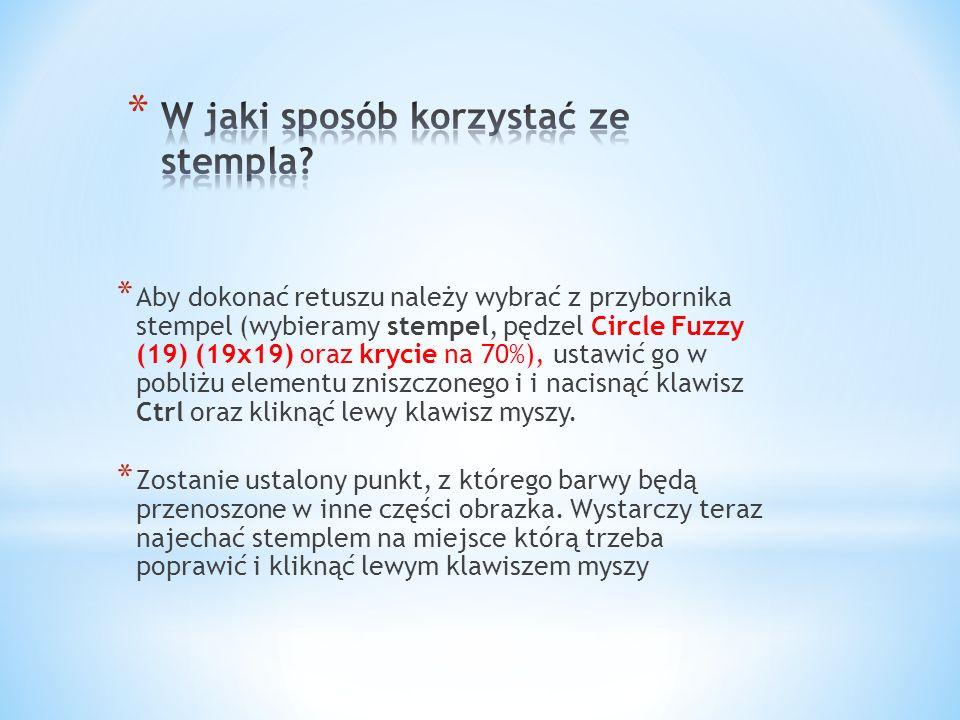 * Aby dokonać retuszu należy wybrać z przybornika stempel (wybieramy stempel, pędzel Circle Fuzzy (19) (19x19) oraz krycie na 70%), ustawić go w pobli