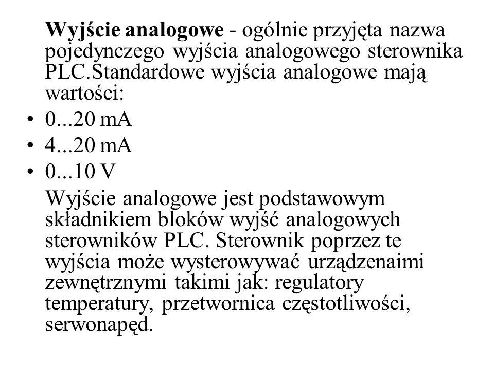 Wyjście analogowe - ogólnie przyjęta nazwa pojedynczego wyjścia analogowego sterownika PLC.Standardowe wyjścia analogowe mają wartości: 0...20 mA 4...20 mA 0...10 V Wyjście analogowe jest podstawowym składnikiem bloków wyjść analogowych sterowników PLC.