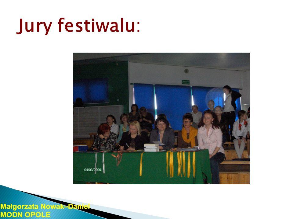 Uczestnicy festiwalu: uczniowie PSP nr 26 w Opolu, uczniowie PSP nr 5 w Opolu, uczniowie PSP nr 7 w Opolu, uczniowie PSP nr 25 w Opolu, uczniowie PSP nr 1 w Ozimku, uczniowie PSP nr 3 w Grodkowie, Uczniowie SP w Gościęcinie, uczniowie Prywatnej Szkoły Języków Obcych Junior Małgorzata Nowak-Daniel MODN OPOLE