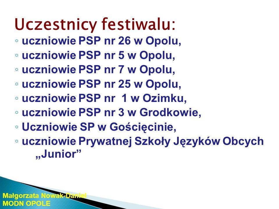 Uczestnicy festiwalu: uczniowie PG nr 1 w Opolu, uczniowie PG nr 2 w Opolu, uczniowie PG nr 3 w Opolu, uczniowie PG nr 5 w Opolu, uczniowie PG nr 7 w Opolu, uczniowie PG w Komprachcicach, uczniowie PG w G ościęcinie, uczniowie PG w Tarnowie Opolskim Małgorzata Nowak-Daniel MODN OPOLE