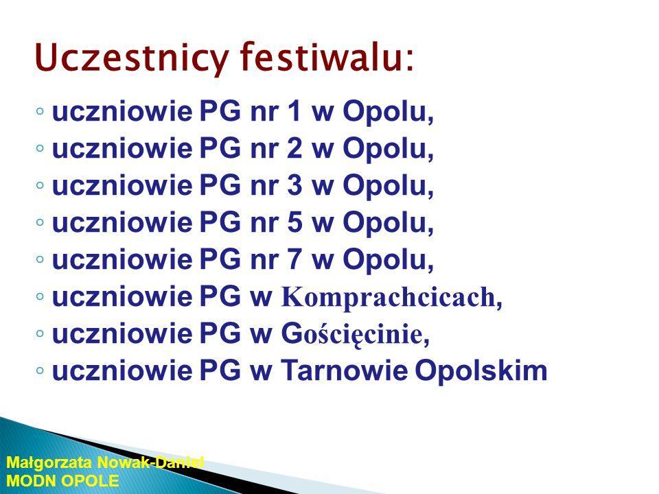 Uczestnicy festiwalu: uczniowie VI LO w Opolu uczniowie Zespołu Szkół Zawodowych nr 4 w Opolu Małgorzata Nowak-Daniel MODN OPOLE