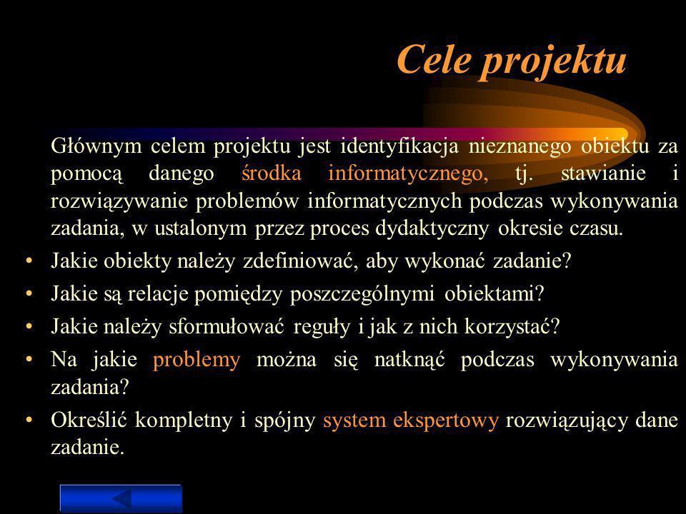 Specyfikacja wykonania zadania Cele projektu Opis potrzeby wykonania zadania Środek informatyczny Reprezentacja obiektu System ekspertowy Procedury Heurystyki Załączone dokumenty