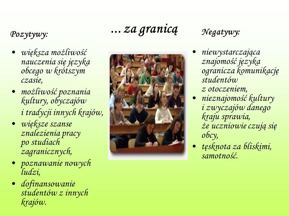 ... za granicą Pozytywy: większa możliwość nauczenia się języka obcego w krótszym czasie, możliwość poznania kultury, obyczajów i tradycji innych kraj