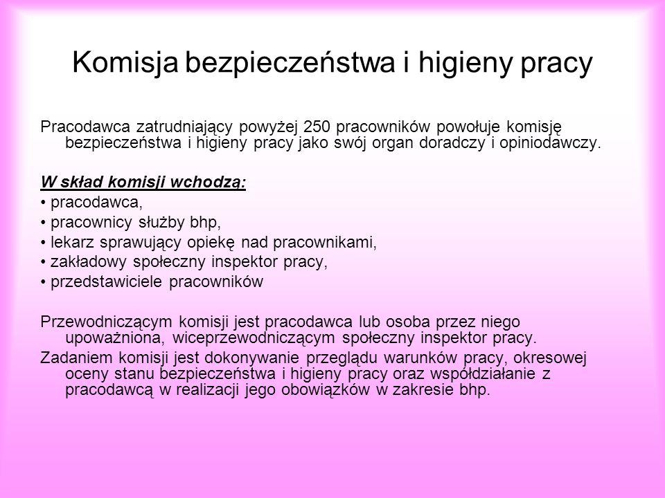 Komisja bezpieczeństwa i higieny pracy Pracodawca zatrudniający powyżej 250 pracowników powołuje komisję bezpieczeństwa i higieny pracy jako swój orga