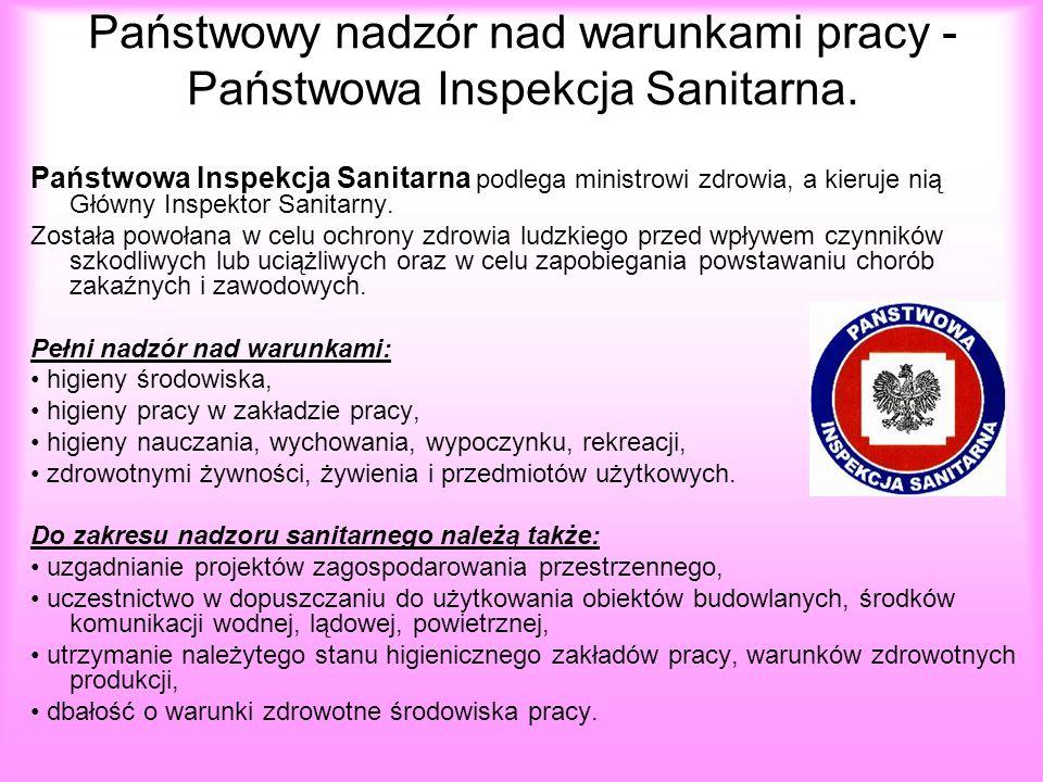 Państwowy nadzór nad warunkami pracy - Państwowa Inspekcja Sanitarna. Państwowa Inspekcja Sanitarna podlega ministrowi zdrowia, a kieruje nią Główny I