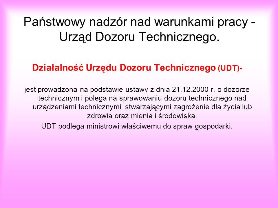 Państwowy nadzór nad warunkami pracy - Urząd Dozoru Technicznego. Działalność Urzędu Dozoru Technicznego (UDT)- jest prowadzona na podstawie ustawy z