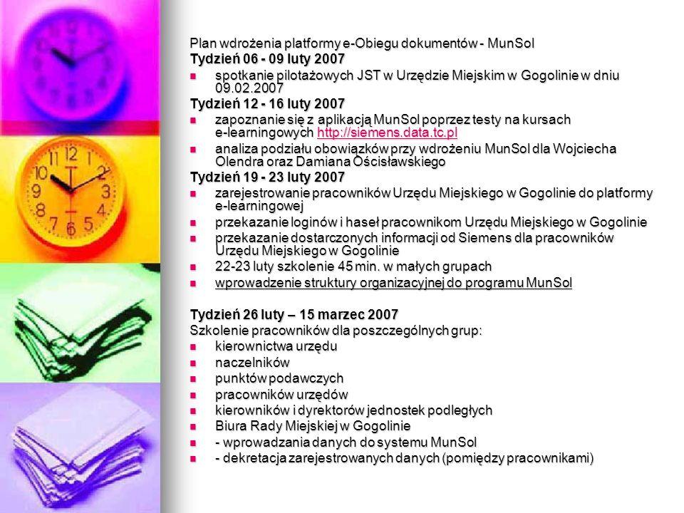 Plan wdrożenia platformy e-Obiegu dokumentów - MunSol Tydzień 06 - 09 luty 2007 spotkanie pilotażowych JST w Urzędzie Miejskim w Gogolinie w dniu 09.0