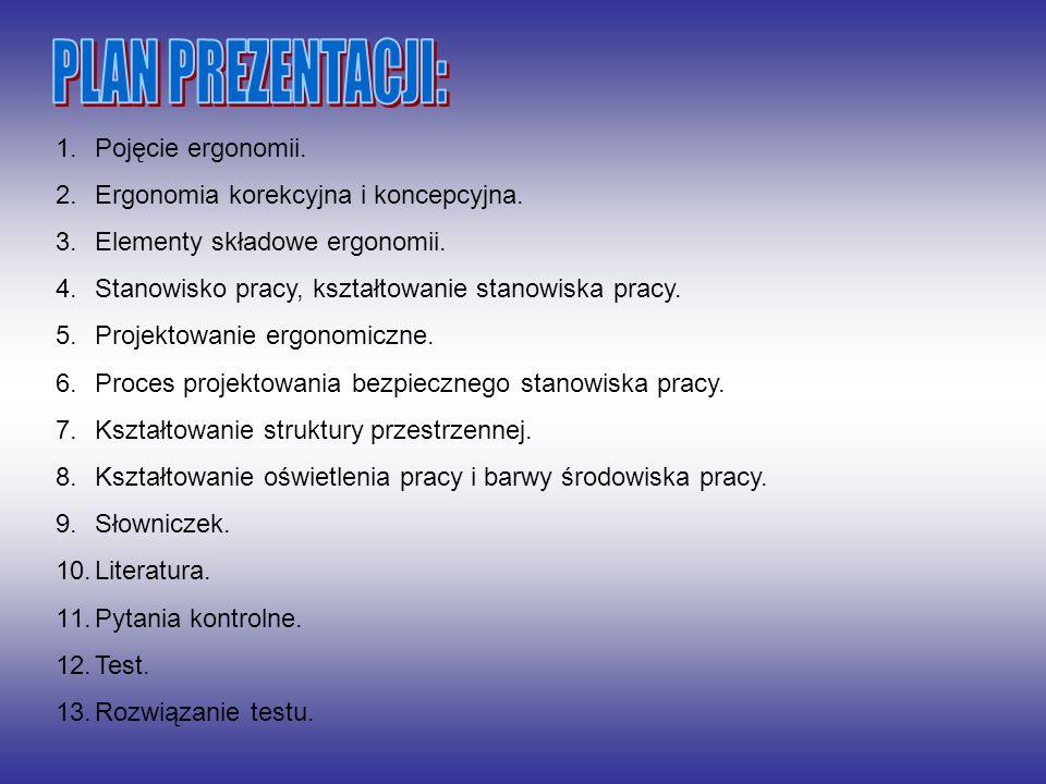 1.Pojęcie ergonomii. 2.Ergonomia korekcyjna i koncepcyjna. 3.Elementy składowe ergonomii. 4.Stanowisko pracy, kształtowanie stanowiska pracy. 5.Projek