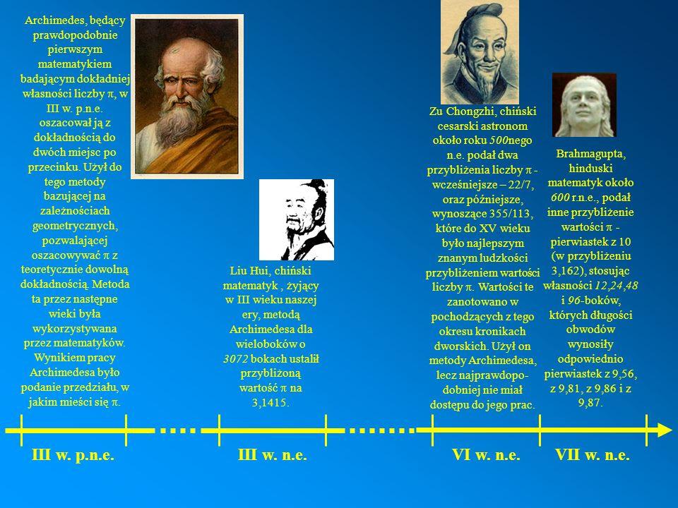 Archimedes, będący prawdopodobnie pierwszym matematykiem badającym dokładniej własności liczby w III w. p.n.e. oszacował ją z dokładnością do dwóch mi
