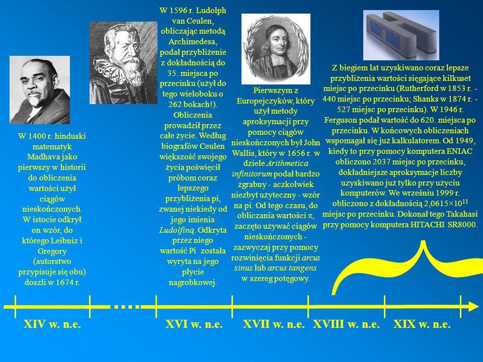 W 1400 r. hinduski matematyk Madhava jako pierwszy w historii do obliczenia wartości użył ciągów nieskończonych. W istocie odkrył on wzór, do którego