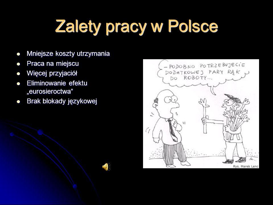 Zalety pracy w Polsce Mniejsze koszty utrzymania Mniejsze koszty utrzymania Praca na miejscu Praca na miejscu Więcej przyjaciół Więcej przyjaciół Eliminowanie efektu eurosieroctwa Eliminowanie efektu eurosieroctwa Brak blokady językowej Brak blokady językowej