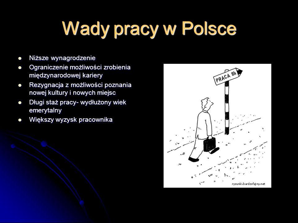 Wady pracy w Polsce Niższe wynagrodzenie Niższe wynagrodzenie Ograniczenie możliwości zrobienia międzynarodowej kariery Ograniczenie możliwości zrobie