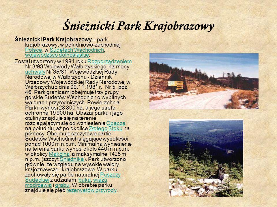 Ś nie ż nicki Park Krajobrazowy Śnieżnicki Park Krajobrazowy – park krajobrazowy, w południowo-zachodniej Polsce, w Sudetach Wschodnich, województwo d