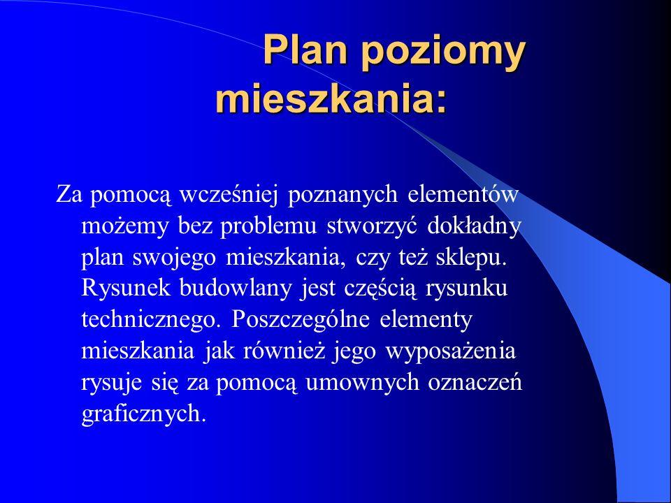 Plan poziomy mieszkania: Plan poziomy mieszkania: Za pomocą wcześniej poznanych elementów możemy bez problemu stworzyć dokładny plan swojego mieszkani
