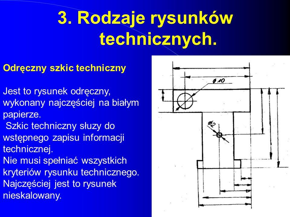 3. Rodzaje rysunków technicznych. Odręczny szkic techniczny Jest to rysunek odręczny, wykonany najczęściej na białym papierze. Szkic techniczny słuzy